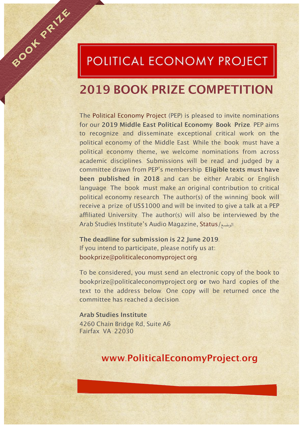 Jadaliyya - Announcing the 2019 Political Economy Book Prize
