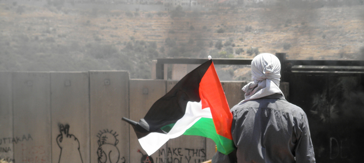 A young man faces off with the border wall outside of the town of Ni'lin. (Credit: myheartinpalestineII / Flickr)
