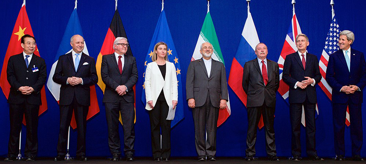 Ministers of foreign affairs and diplomats announcing the framework for a comprehensive agreement of the Iranian nuclear program in 2015. (Credit: US State Department)